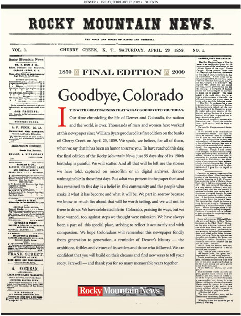 Rocky Mountain News final front page