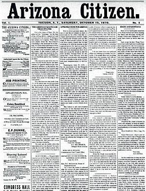 First issue of the Arizona Citizen, 1870