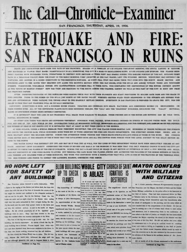 San Francisco Call-Chronicle-Examiner earthquake front page