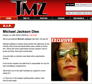 Michael Jackson death on TMZ